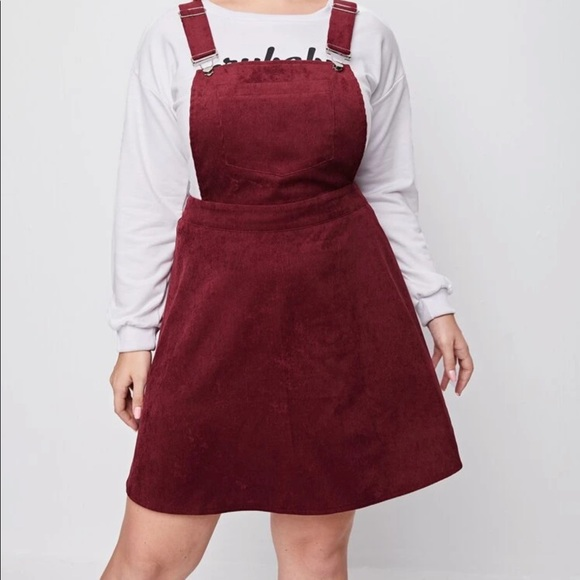 Plus pocket front corduroy overall dress